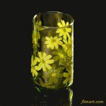 昭和レトロガラスコップ花柄黄緑R652