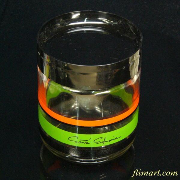 昭和レトロガラスカラーポット中緑黒オレンジ