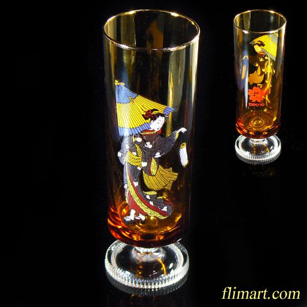 昭和レトロアデリアグラス万博ガラスコップ飴色R1129