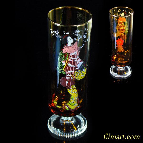 昭和レトロアデリアグラス万博ガラスコップ飴色R1128