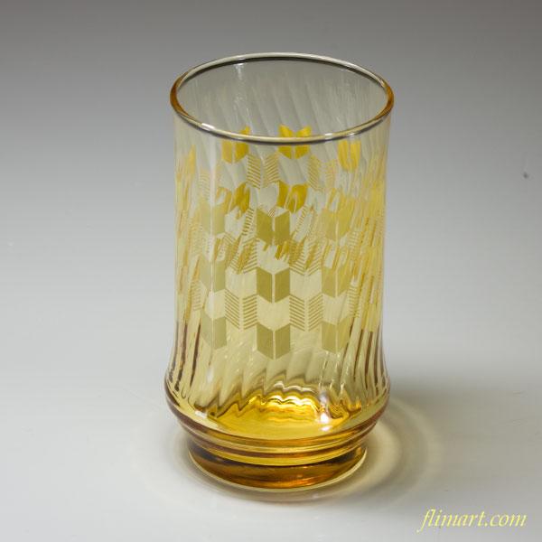 昭和レトロアデリア飴色ガラスコップR1654