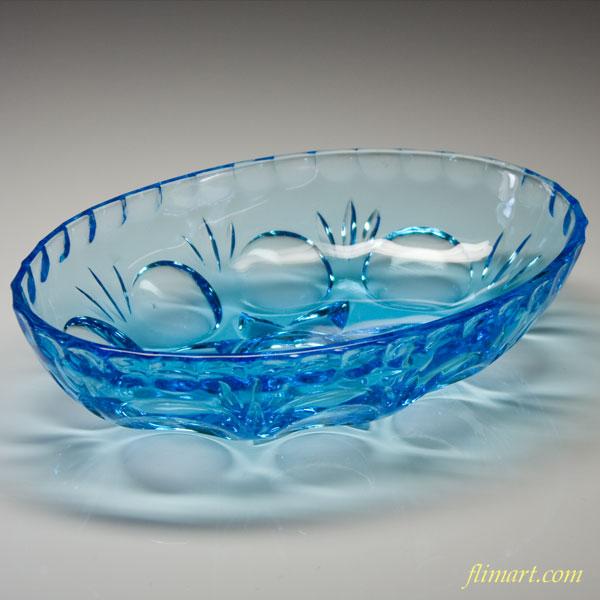昭和レトロガラスオーバル小鉢青R1676