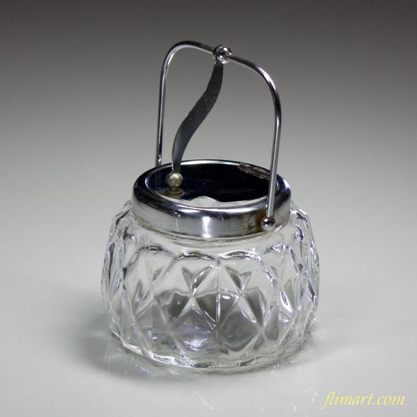 昭和レトロガラスシュガーポットR7259