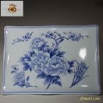 ホーロー花柄角型大皿