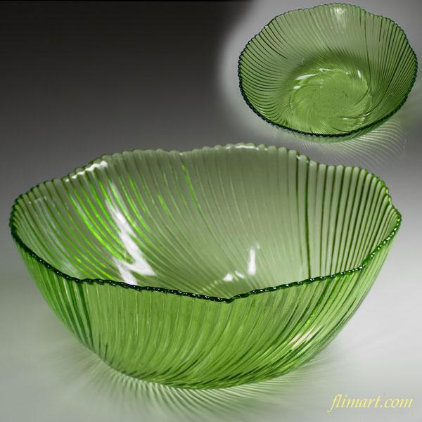 昭和レトロガラスボウル緑R2415