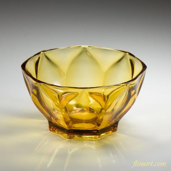 和レトロ飴色ガラスボウル小鉢R2529
