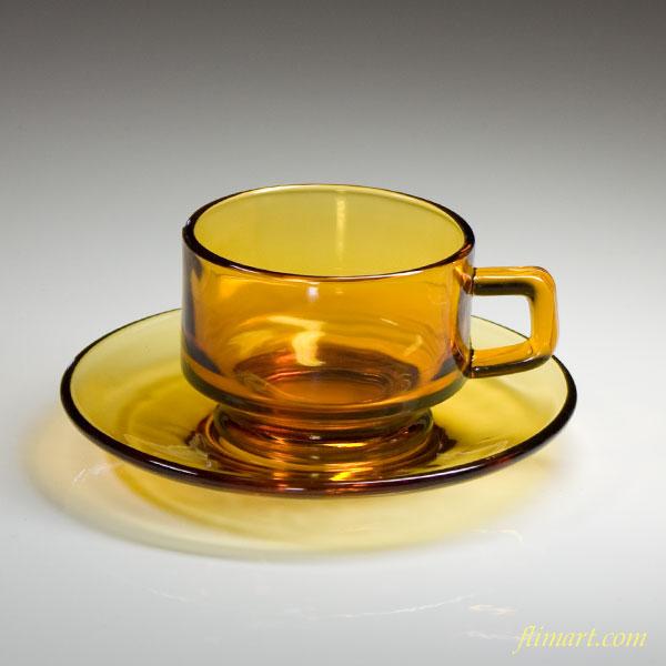 昭和レトロガラスカップ&ソーサー飴色R538