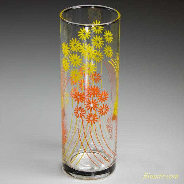 昭和レトロアデリアグラスガラスコップオレンジ色黄色花柄R2570