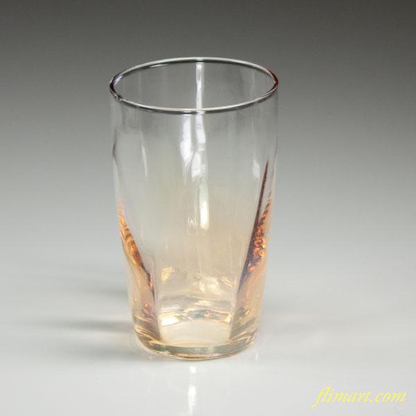 昭和レトロアデリアガラスコップ黄R2790