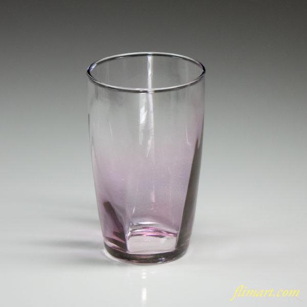 昭和レトロアデリアガラスコップ紫R2788