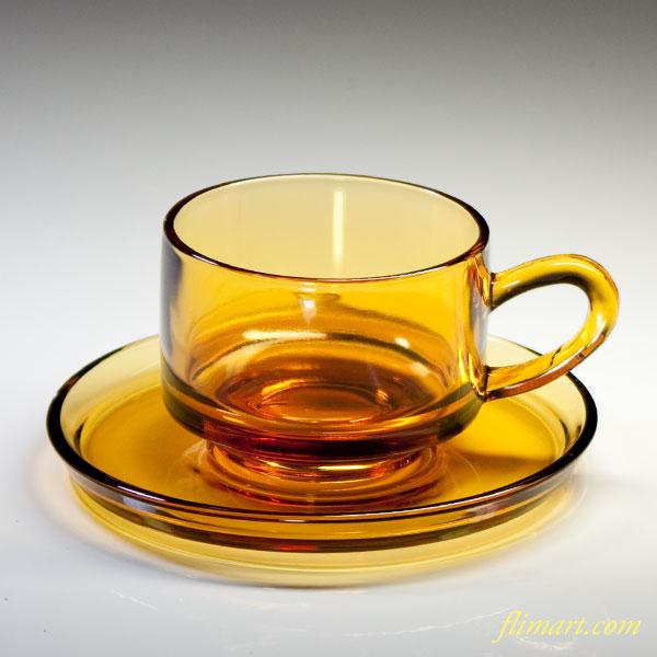 昭和レトロアデリアガラスカップ&ソーサー飴色R2876