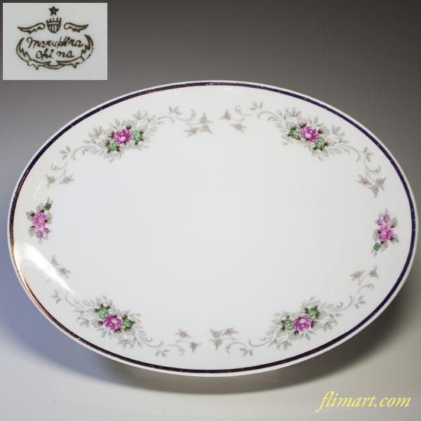 昭和レトロ花柄オーバルプレートR2890