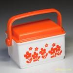 昭和レトロプラスチック入れ物花柄オレンジ