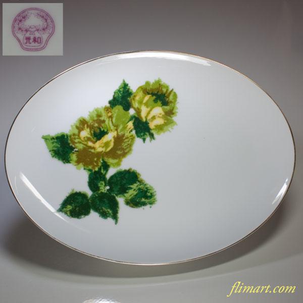 昭和レトロ光和花柄オーバルプレート