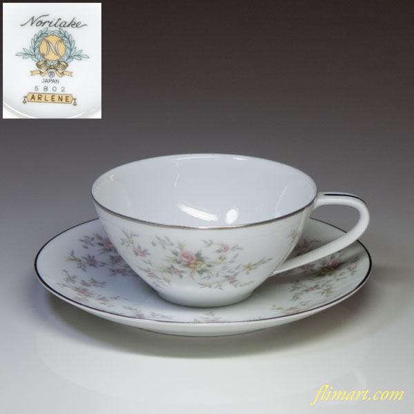 ノリタケARLENEアイリーンカップ&ソーサー花柄