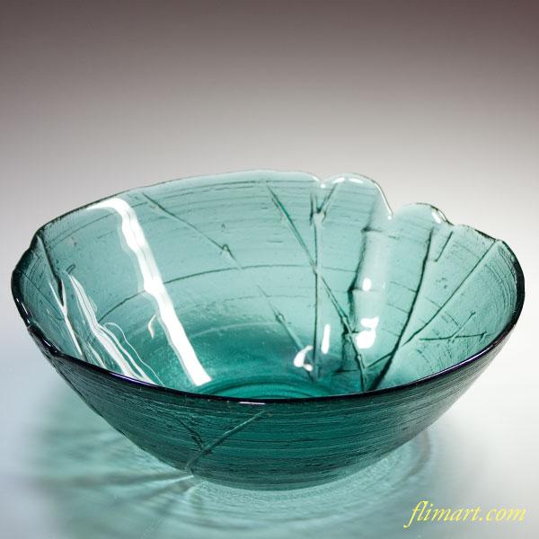昭和レトロカメイガラスボウル竹柄緑
