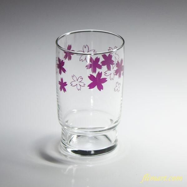 昭和レトロアデリアガラスコップ花柄桜R3348
