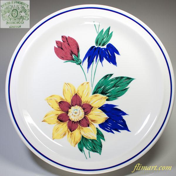 ニッコーダブルフェニックス花柄27cmプレート