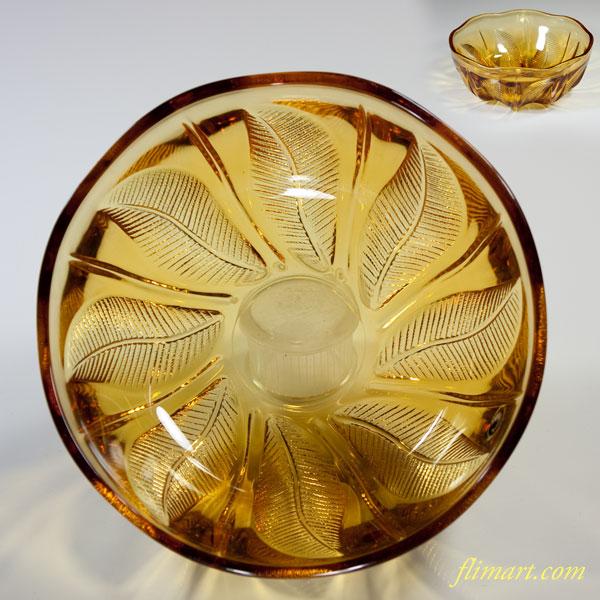 昭和レトロ飴色ガラスボウルR3985