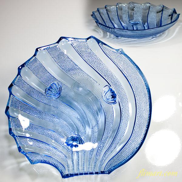 昭和レトロサクラ印ホタテ貝柄青ガラスボウル