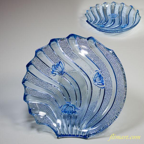 昭和レトロサクラ印ホタテ貝柄青ガラス小皿