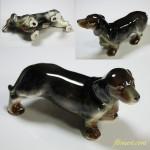 昭和レトロ陶器日本製フィギュアダックスフンド犬の置物