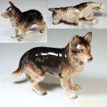 昭和レトロ陶器日本製フィギュアシェパード犬の置物