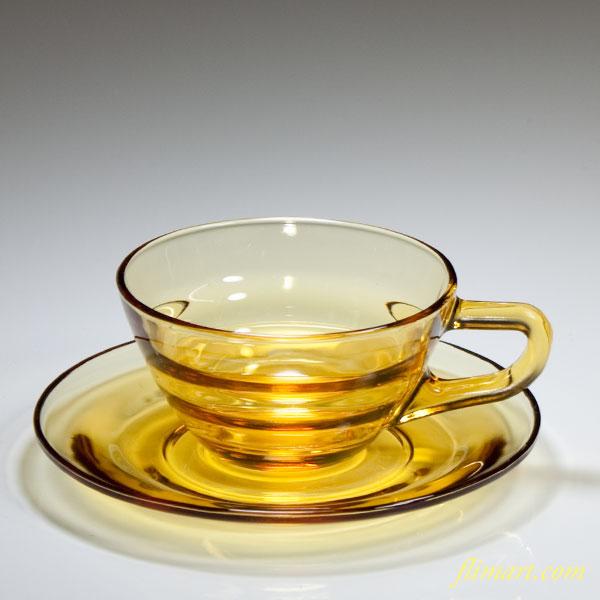 昭和レトロ飴色ガラスカップ&ソーサー
