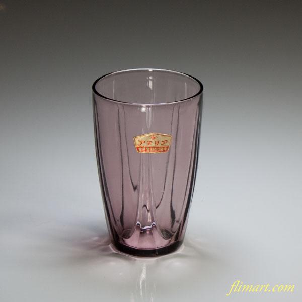 昭和レトロアデリア紫ガラスコップR4403