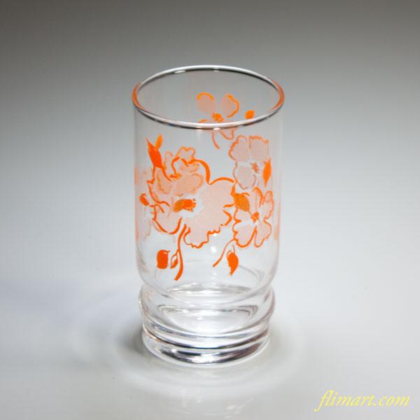 昭和レトロアデリアガラスコップ花柄オレンジR4666