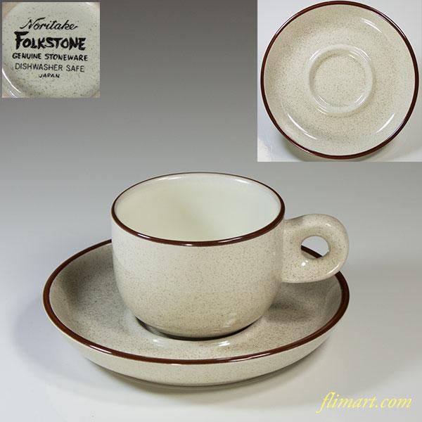 ノリタケストーンウェアFOLKSTONEデミタスカップ&ソーサーR4749