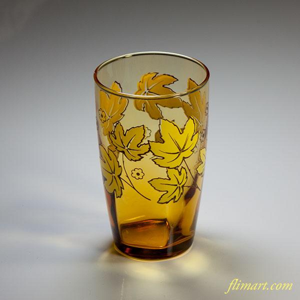 昭和レトロアデリア飴色ガラスコップR4831