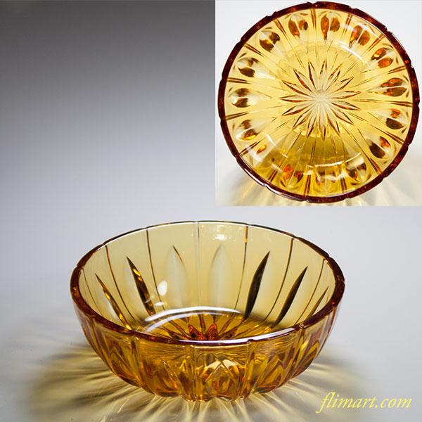 昭和レトロ飴色ガラス小鉢R3550