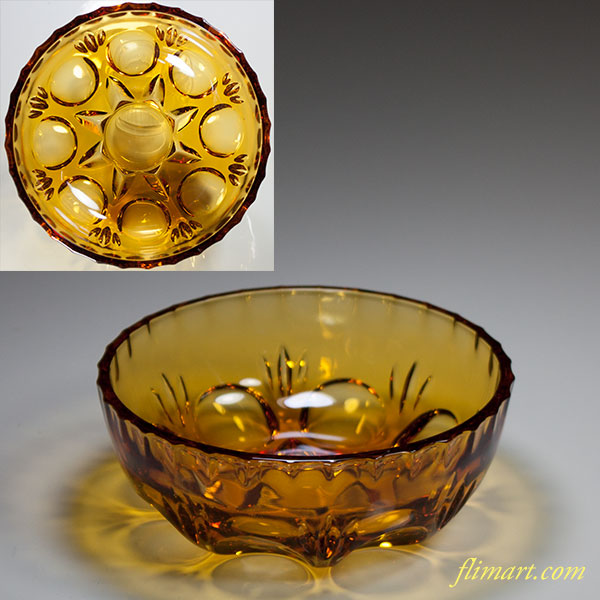 昭和レトロアデリア飴色ガラス小鉢R4979