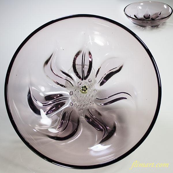 昭和レトロソガグラス紫ガラスボウルR5041