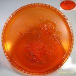 タイヘイポリスチロールサロントレーオレンジ薔薇柄丸盆