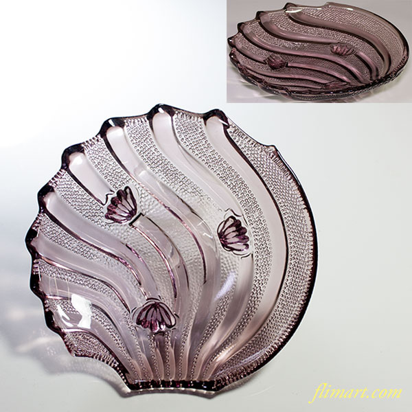 昭和レトロ紫ガラス帆立貝型13cm小皿R6207