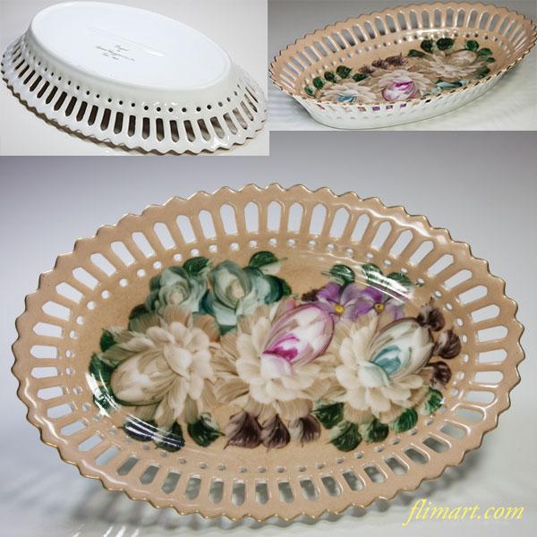 昭和レトロShibataメッシュ花柄オーバルボウル