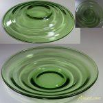 昭和レトロ緑ガラス24cmプレートR5317