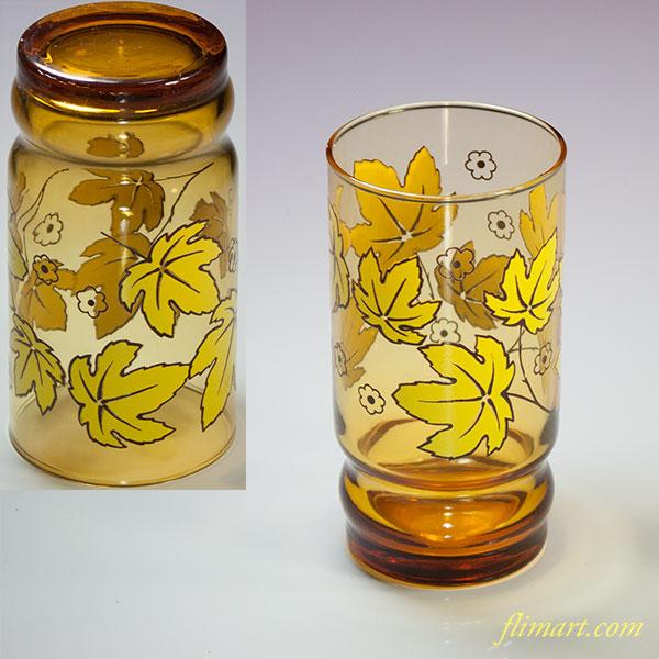 昭和レトロアデリアグラス飴色ガラスコップR5545