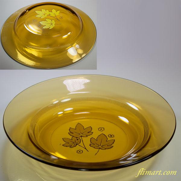 昭和レトロアデリアグラス飴色ガラスプレートR5561