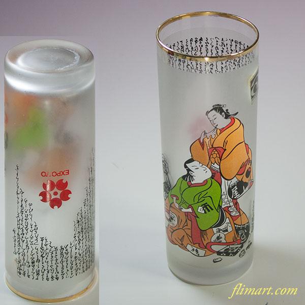 昭和レトロアデリアグラス大阪万博髪結コップ