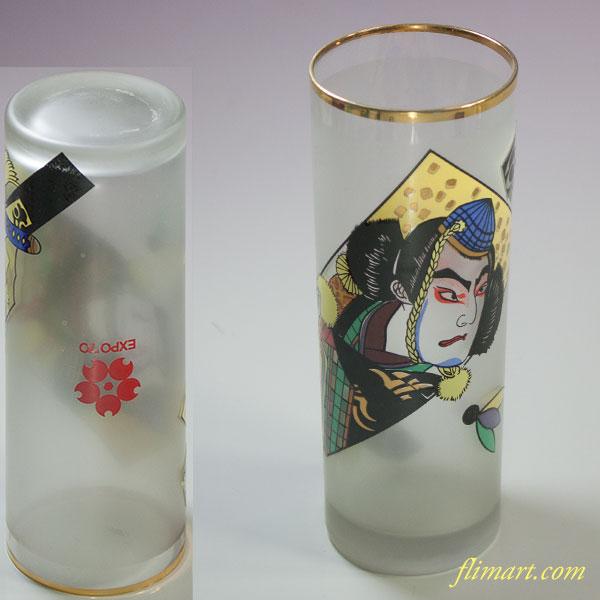 昭和レトロアデリアグラス大阪万博歌舞伎羽子板コップ