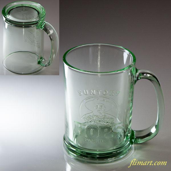 サントリーHOP'S緑ガラスマグカップ