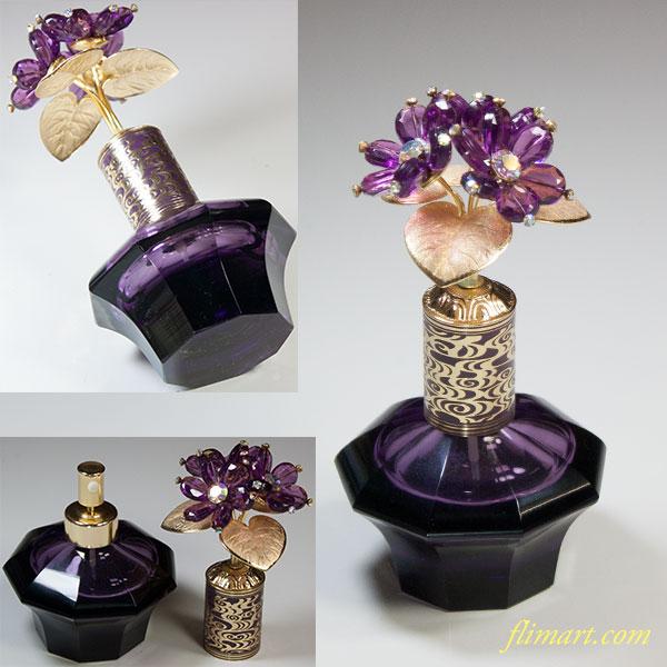 昭和レトロ資生堂花椿記念品1967年度プリオールフレグランス紫ガラススプレイ容器