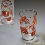 昭和レトロ佐々木グラスガラスコップ花柄菊オレンジR5682
