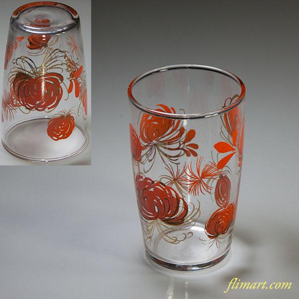 佐々木グラスガラスコップ花柄菊オレンジR5682