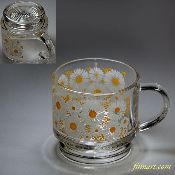 昭和レトロガラスマグカップ花柄白黄R817