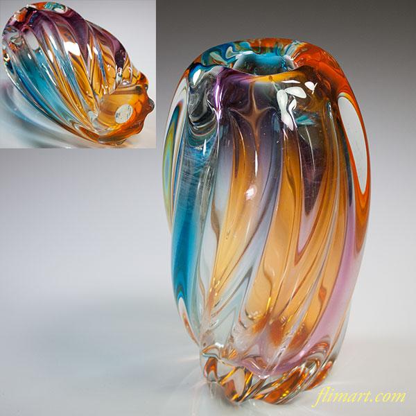 昭和レトロカメイガラス花瓶R5717
