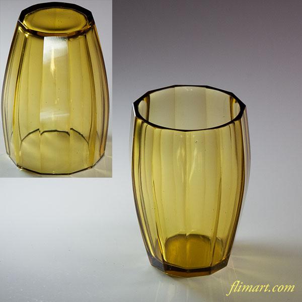 昭和レトロ飴色ガラスコップR5730